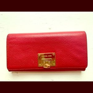 Michael Kors large red Jet Set wallet
